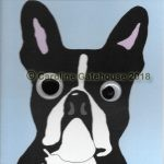 Cartoon caricature image of a Boston Terrier with uneven, applique eyes which move when the card is handled.